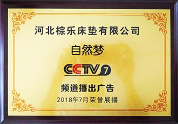 cctv7频道播出广告授牌